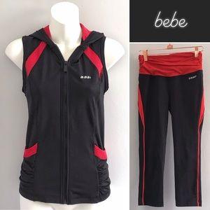 Bebe Sport Black Red Vest & Capri Leggings • XS